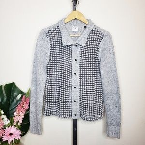 CAbi #3006 Gray Square Stitch Snap Front Cardigan